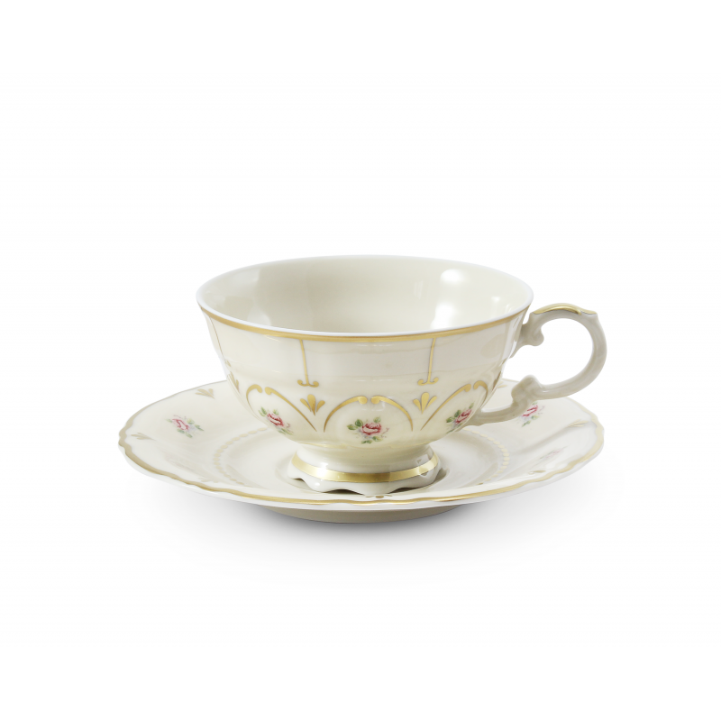 Cup and saucer 0,20 l Bohemian rose ivory