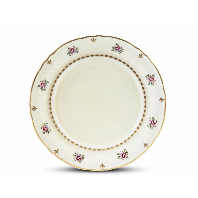 Shallow plate 25 cm Bohemian rose ivory