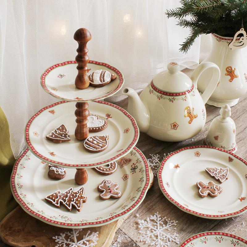 Etagere 3tlg. Weihnachtslebkuchen Walnuss
