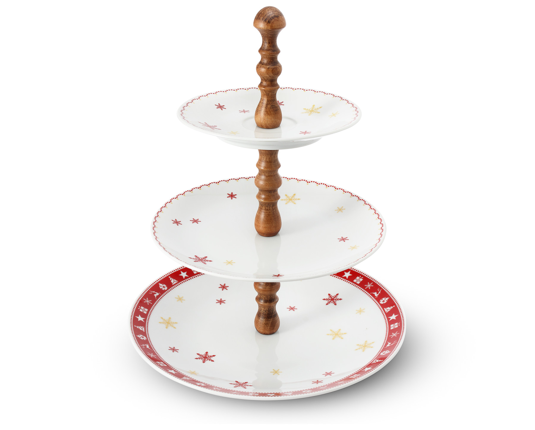 Tiered plate Christmas dreaming walnut