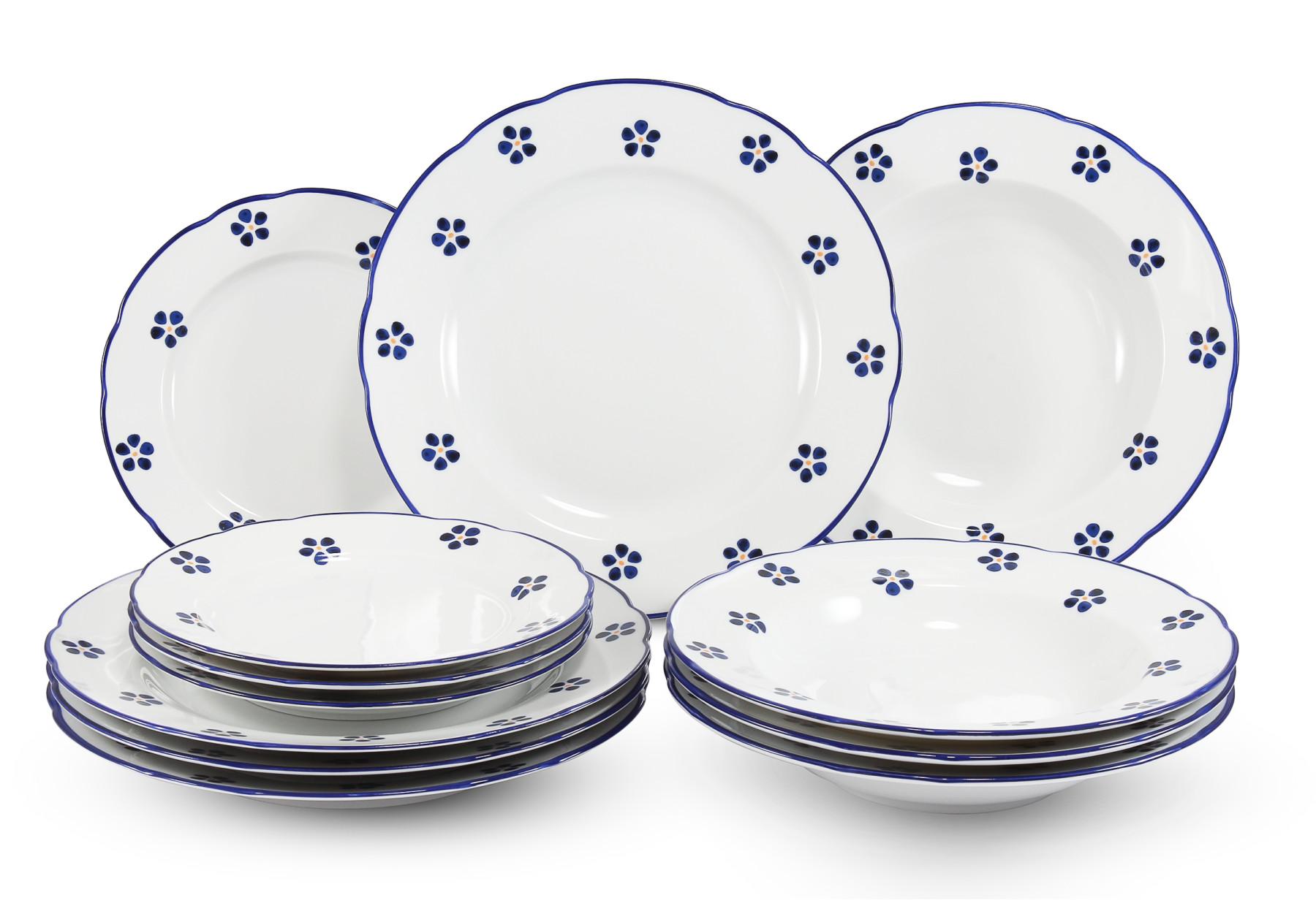 Teller-Set 12 Stück Blaue Blumen