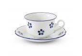 Niedrige Tasse mit Untertasse 0,20 l Blaue Blumen