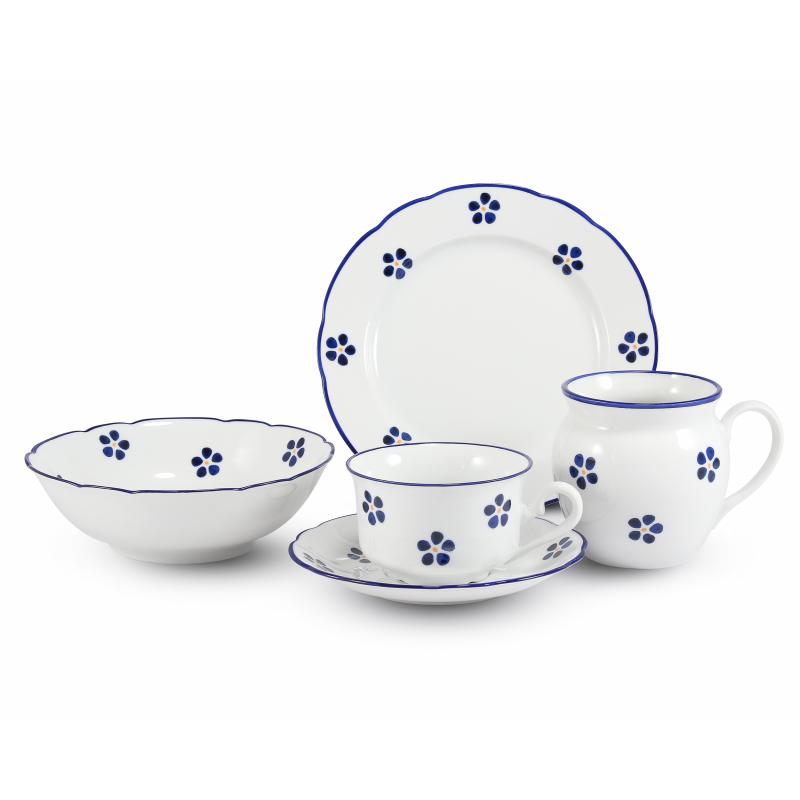 Frühstücks-Set 4 Stück Blaue Blumen