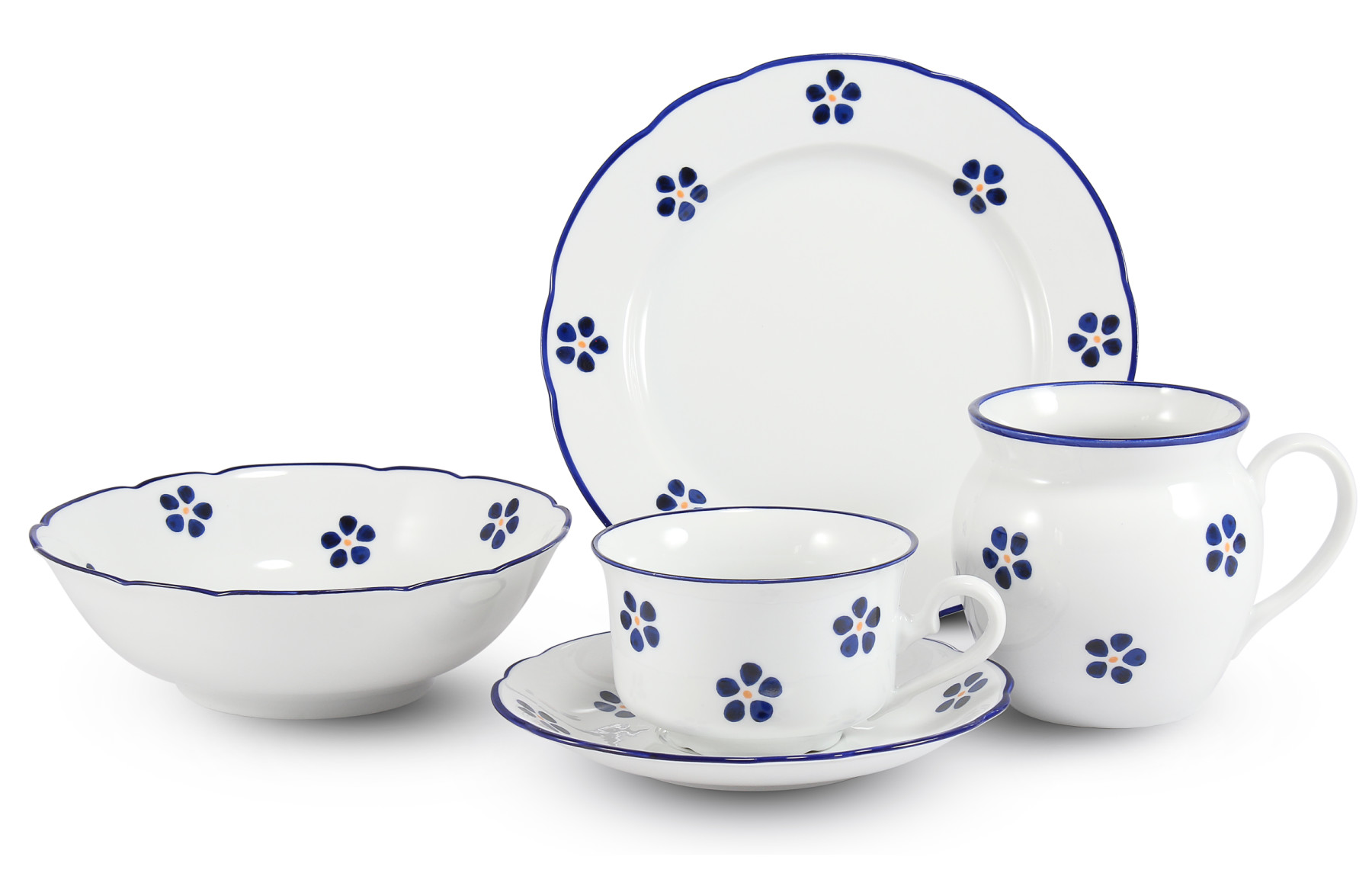 Breakfast set 4 pieces Blue Blossoms
