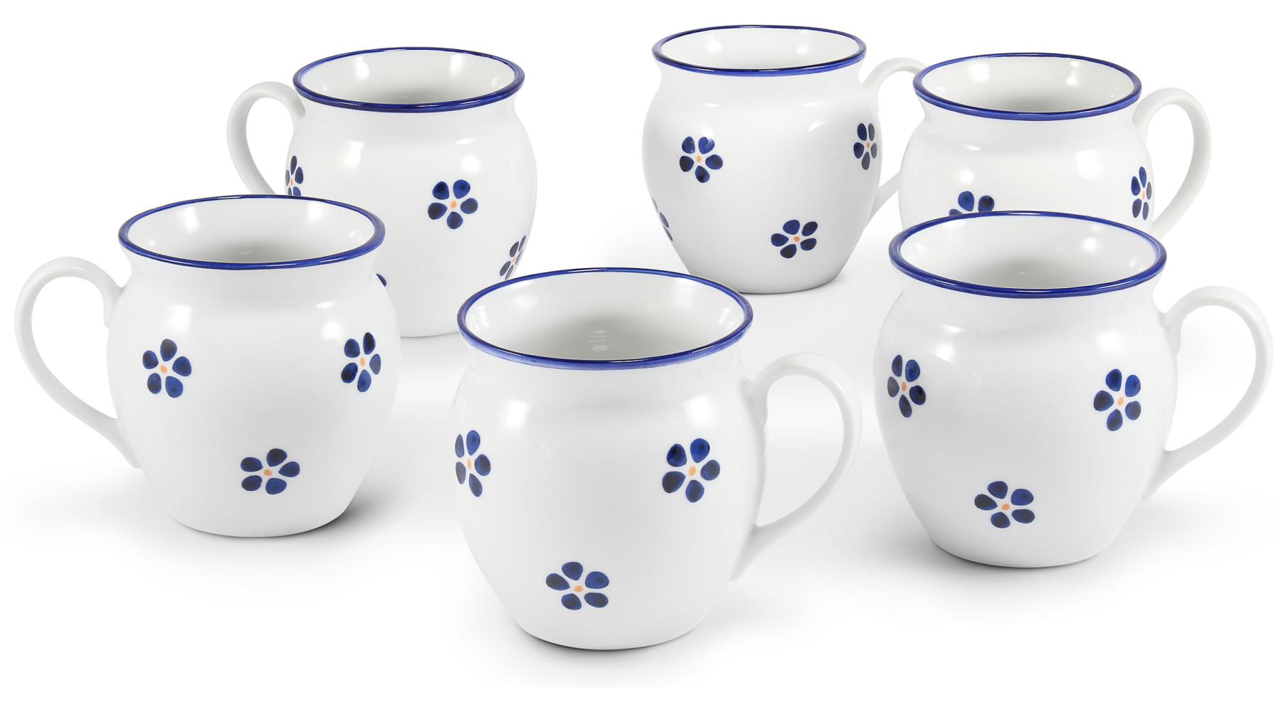 "Set of six mugs 0,30 l ""BUCLÁK"" Blue Blossoms"