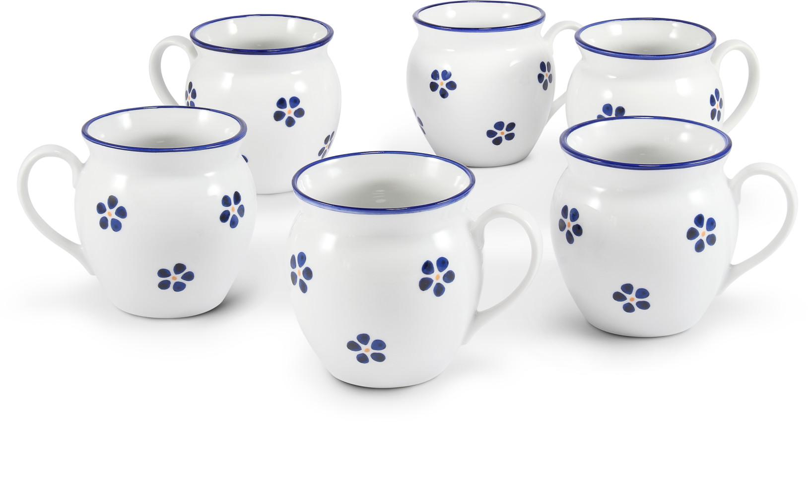 """Satz mit sechs Bechern 0,30 l """"BUCLÁK"""" Blaue Blumen"""