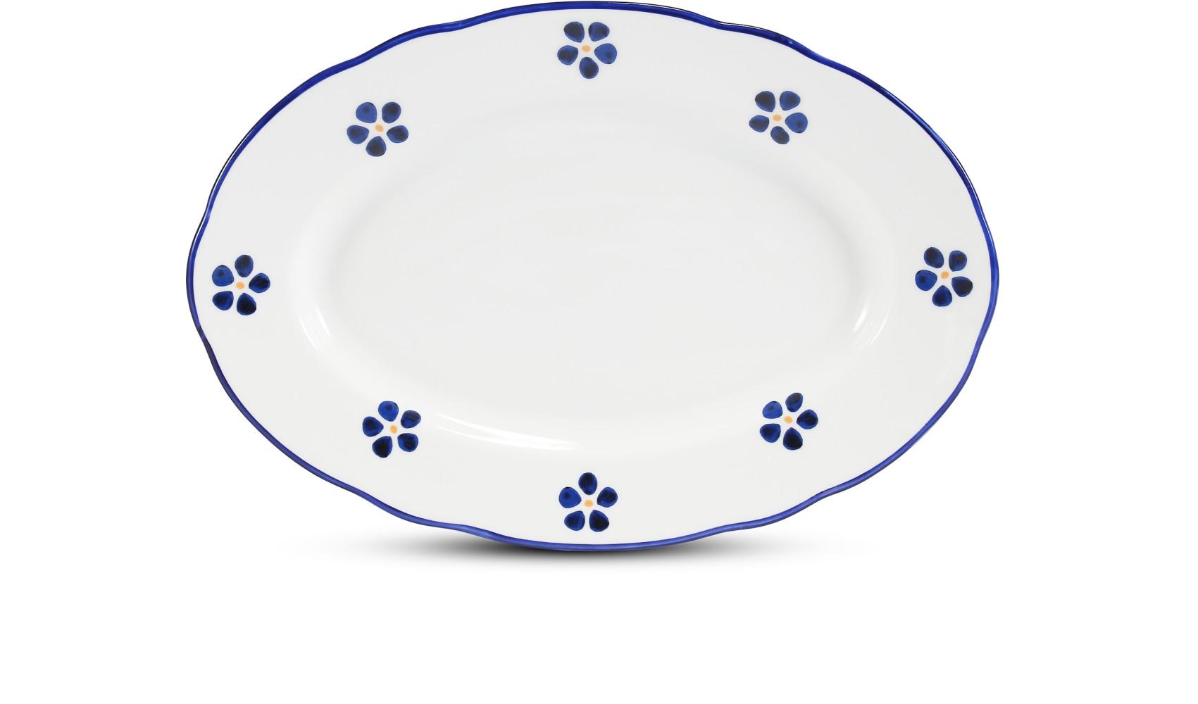 Ovale Aufsatzschale 23 cm Blaue Blumen