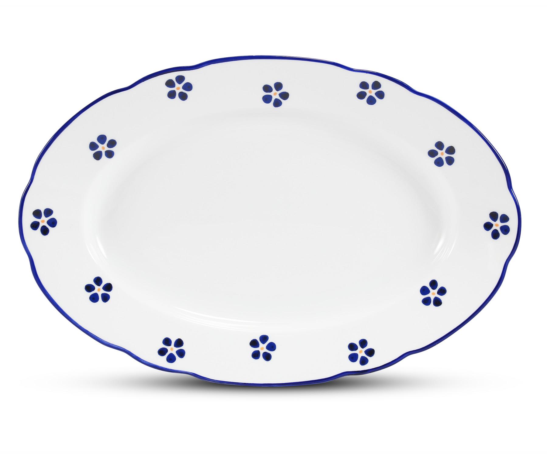 Ovale Schale 32 cm Blaue Blumen
