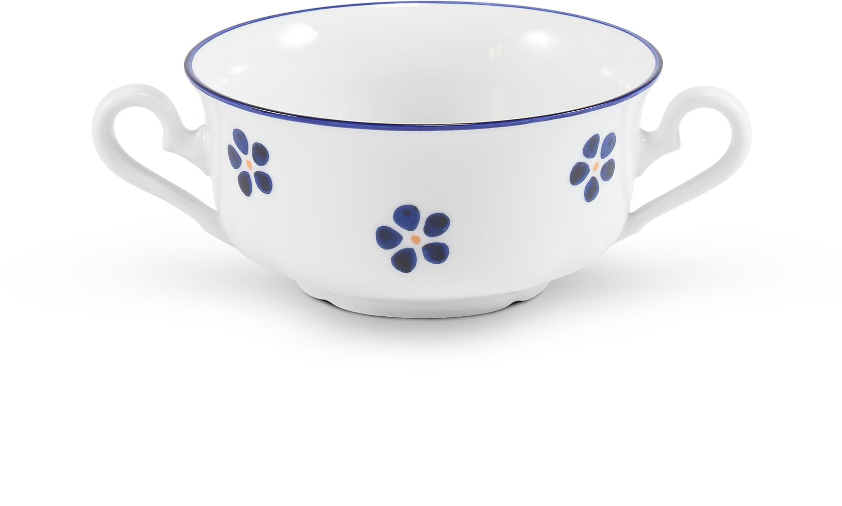 Šálek na polévku 2 ucha 0,35 l Modrohrátky ze zahrádky