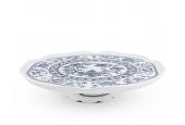Cake plate 28 cm on a leg Blue onion china