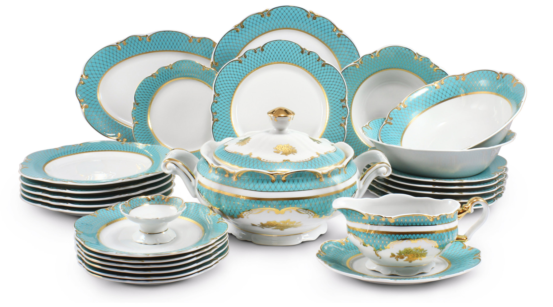 Dinner set 25-piece - Roses under the stars