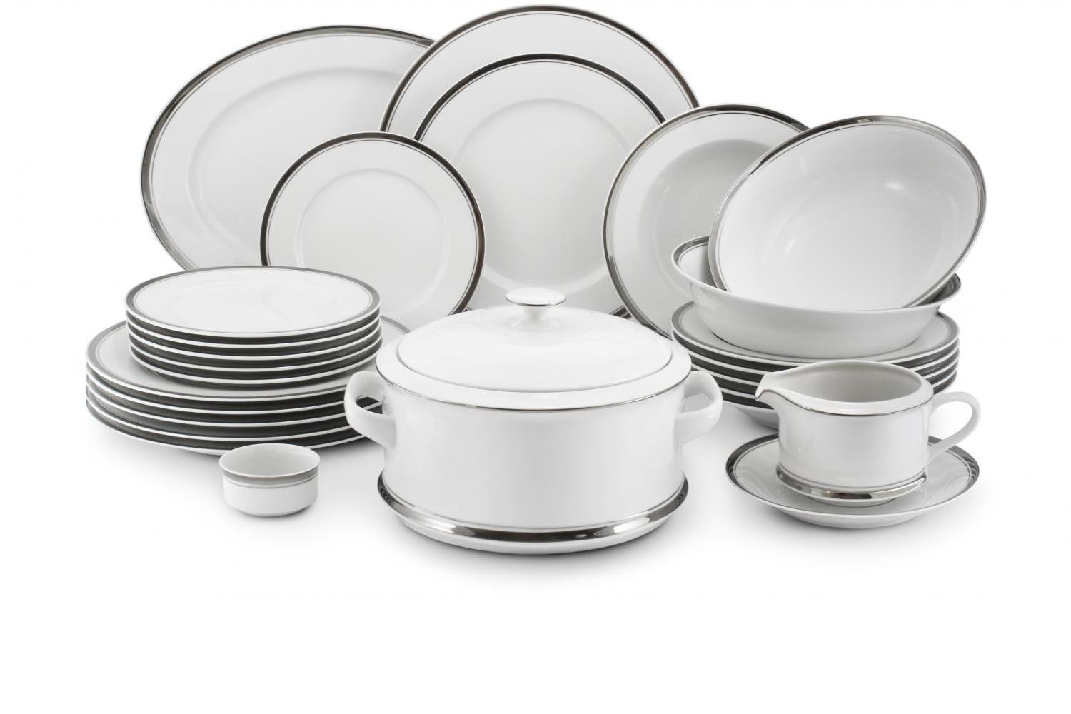 Dinner set 25-piece - Sabina with a platinum band