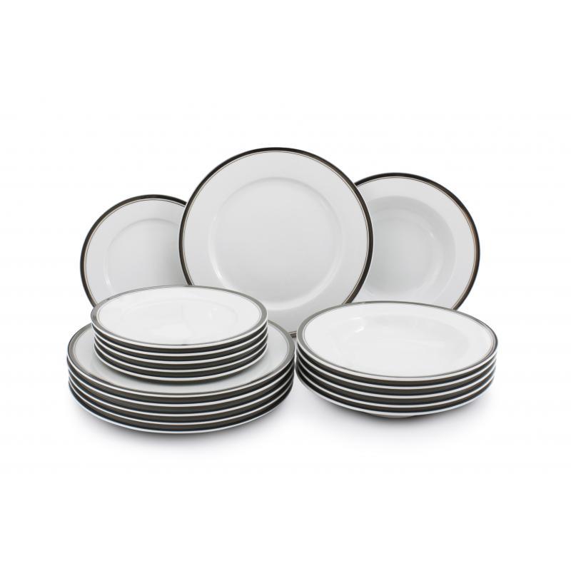 Plate set 18-piece - Sabina with a platinum band