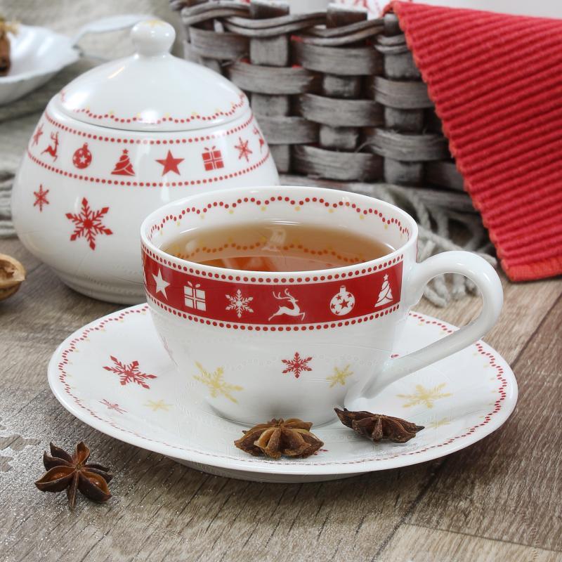 Tasse mit Untertasse 0,2l Weihnachtsträume
