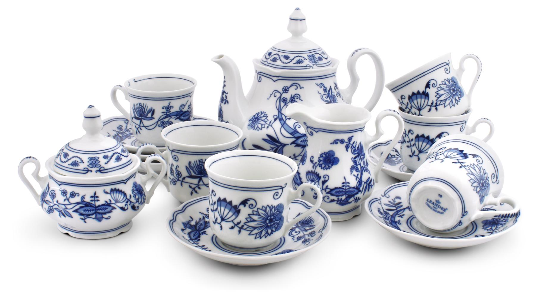 Tea set 15-piece - Blue onion china