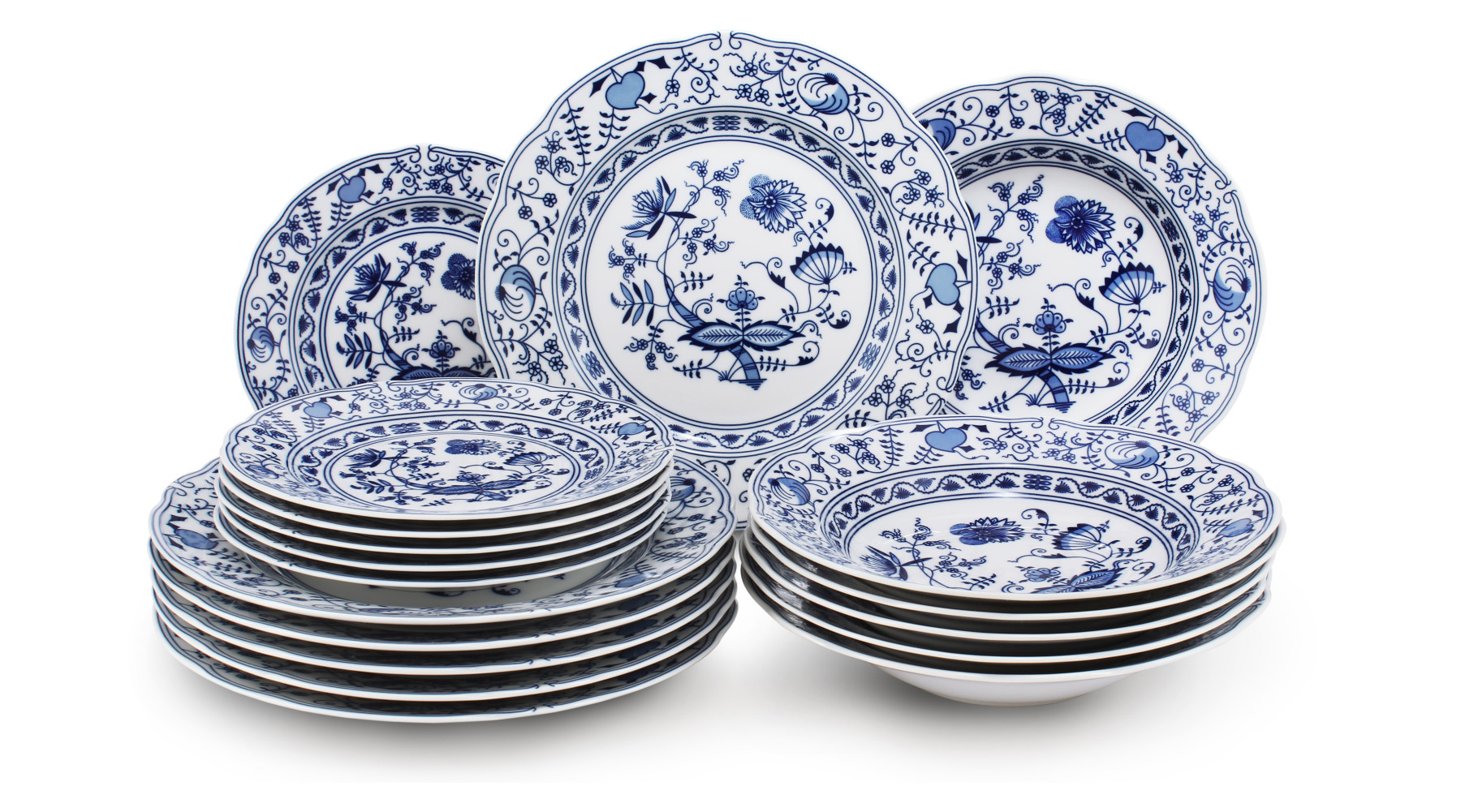 Plate set 18-piece - Blue onion china