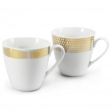 Set mit zwei Tassen Goldene...