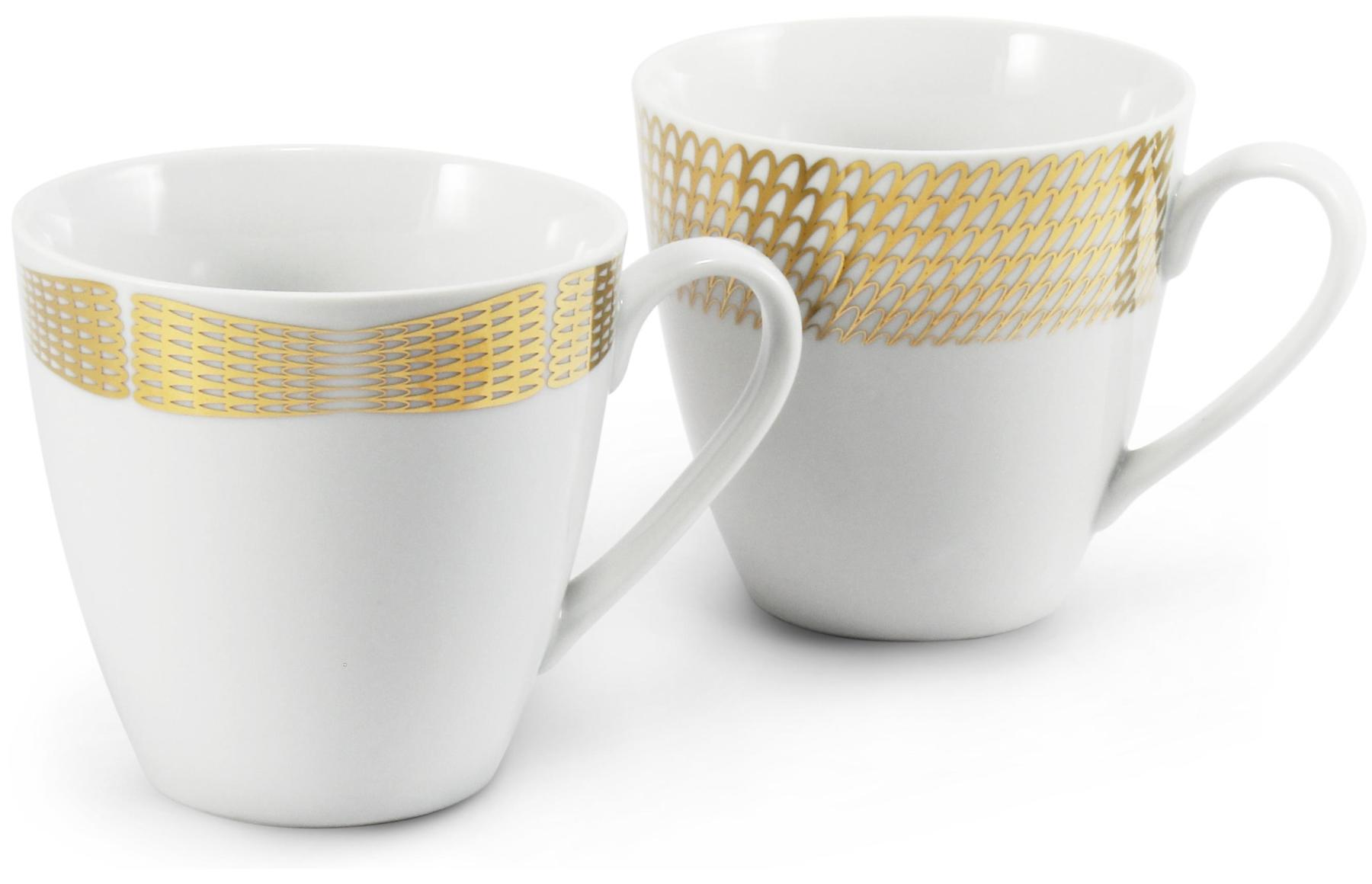 A set of two mugs Golden angel wings