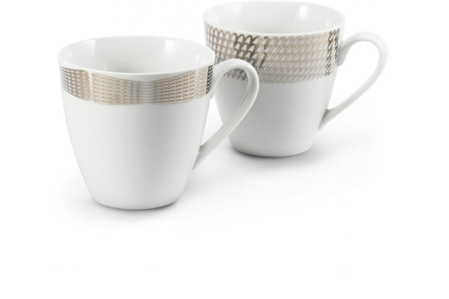 A set of two mugs Silver angel wings
