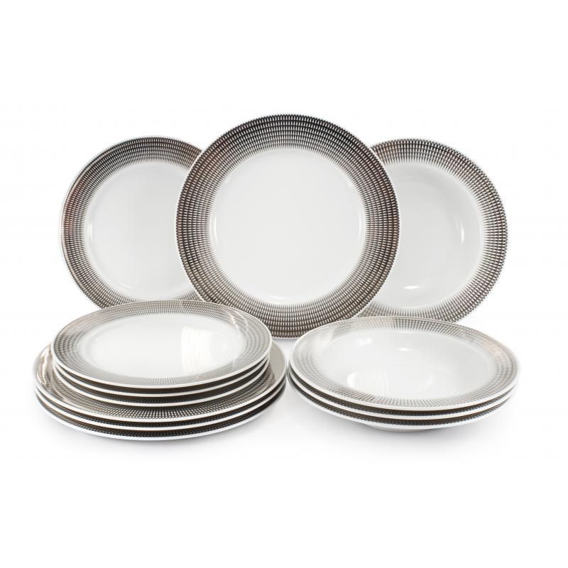 Tellerset 12-teilig Silberne Engelsflügel