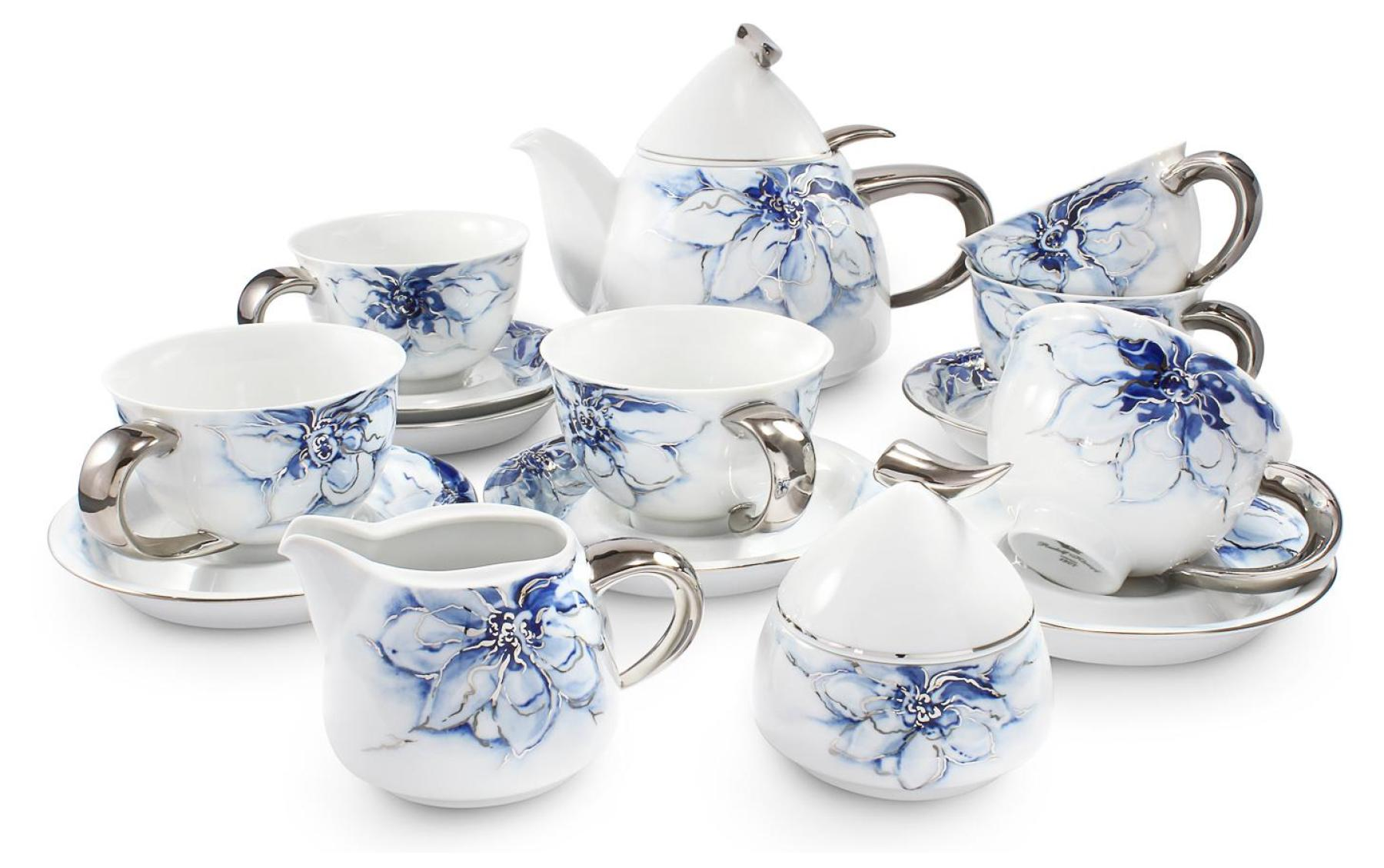 Tea service 15-piece cobalt blue