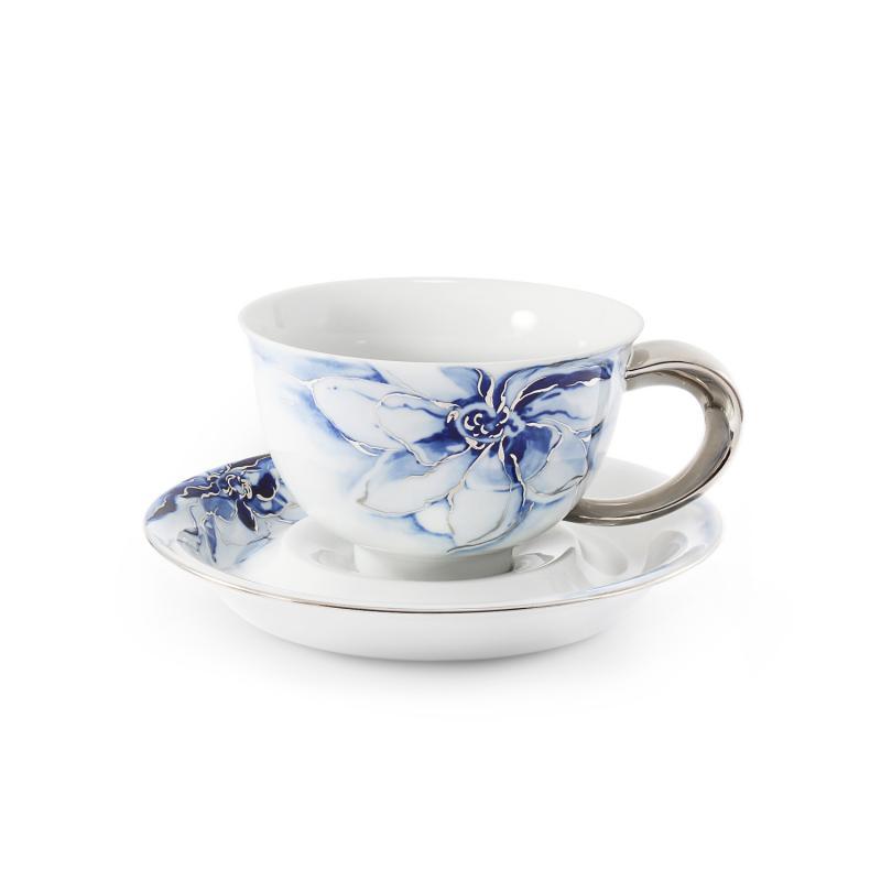 Šálek s podšálkem 0,30l Kobaltová květina