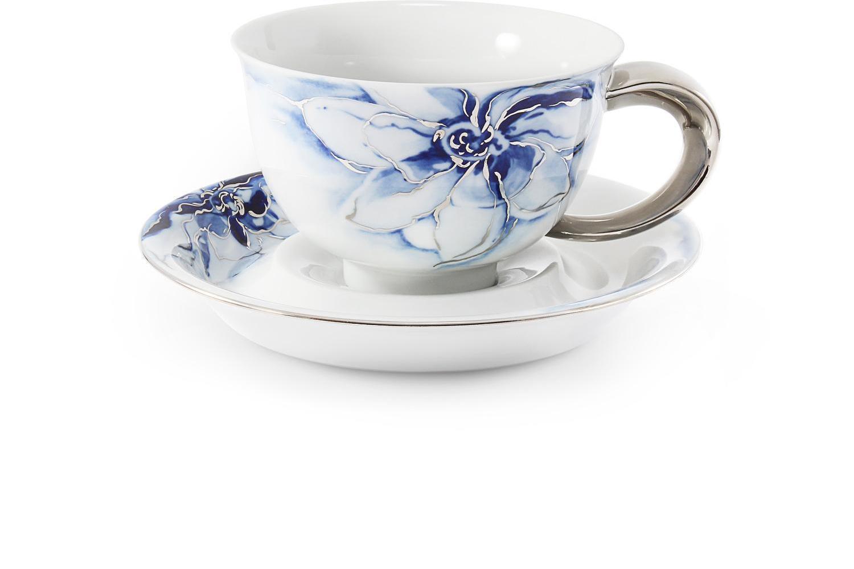 Tasse mit Untertasse 0,30l Kobaltblume