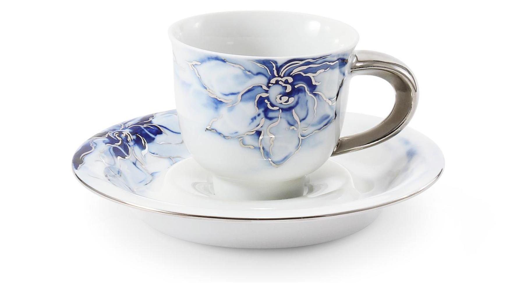 Cup and saucer 0.08l mocca cobalt blue