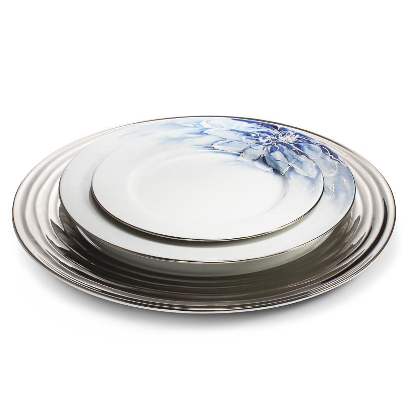 Mělký talíř ø27cm Kobaltová květina