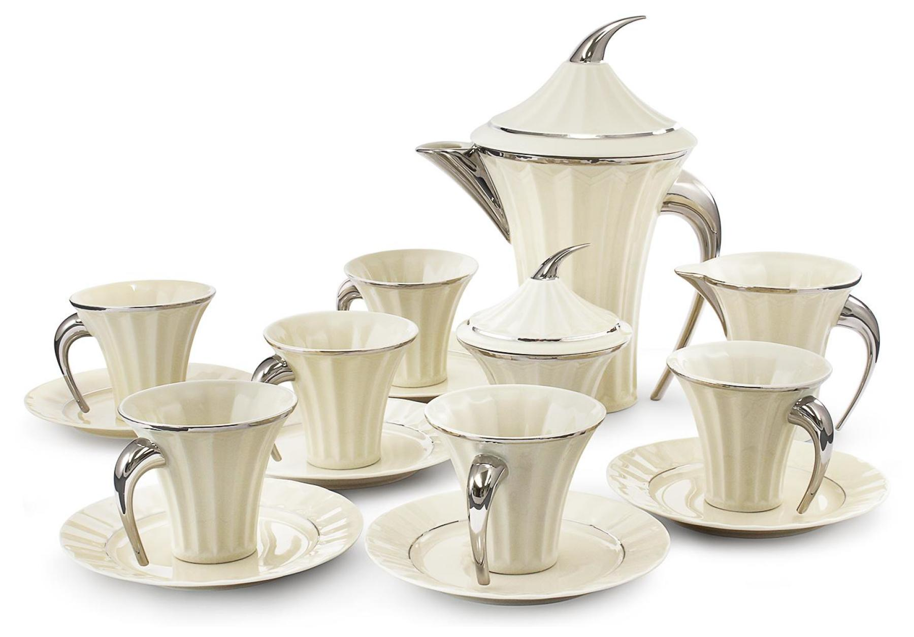 Tea set 15-piece Egypt platinum