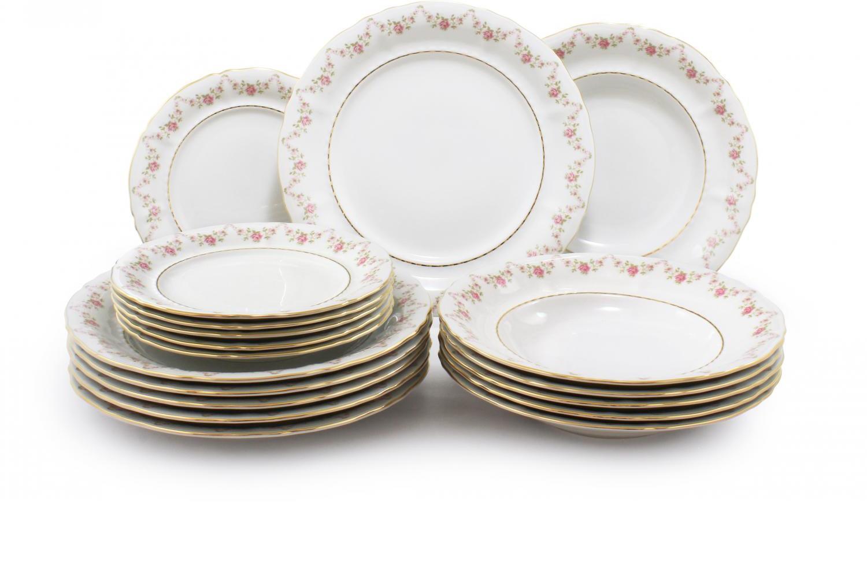 Plate set 18-piece - Rose garland