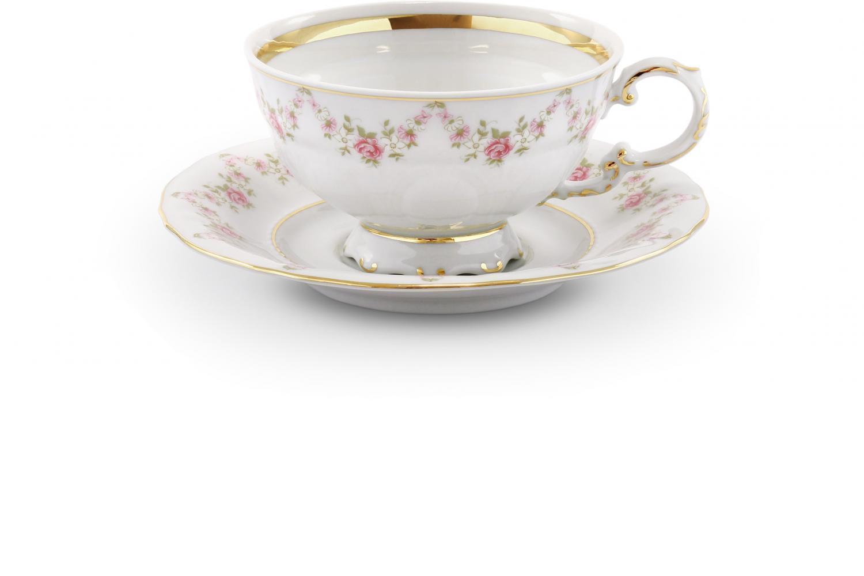 Tasse mit Untertasse Girlande aus Rosen