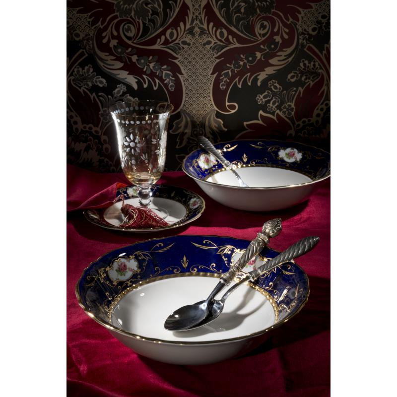 Dinner set 25-piece - Cobalt and rose